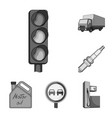 car vehicle monochrome icons in set collection vector image