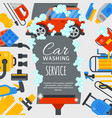 car wash poster water transport cleaner background vector image vector image