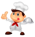 Chef cartoon holding a metal food platter and thum vector image vector image