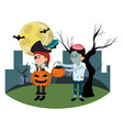 children with funny costumes and bad pumpkin vector image