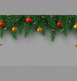 christmas decoration with fir tree branches vector image vector image