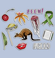 colorful stickers set various objects and words vector image vector image