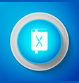 cookbook icon isolated on blue background cooking vector image vector image
