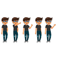 cute five man cartoon are standing vector image vector image