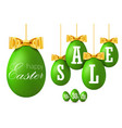 easter egg sale 3d happy easter hanging green vector image vector image