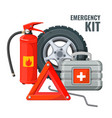 emergency first aid kit and necessary auto service vector image vector image