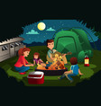 family camping in the forest vector image