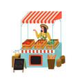 farmer market stall woman selling organic food vector image