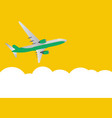 flat airliner flying in sky side view from vector image vector image