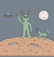 green alien with dog vector image vector image
