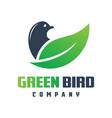 green leaf bird logo design vector image vector image