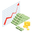 growing cash graph finance literacy isometric vector image