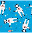 Hand drawn astronaut monkey seamless pattern