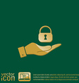 hand holding a padlock vector image