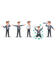 happy businessman a character set an office vector image