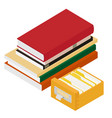isometric pile of books and library book catalog vector image vector image
