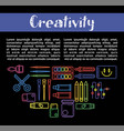 kids creativity and art design poster of vector image vector image