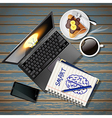 laptop and phone with book and coffee and crepe vector image vector image