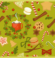 merry christmas symbolic food and plant seamless vector image