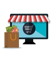 monitor pc e-commerce shop online design vector image vector image