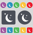 moon icon sign A set of 12 colored buttons Flat vector image