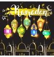 Mosque and ink inscription Ramadan vector image