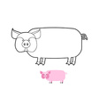 Pig coloring book of farm animals vector image