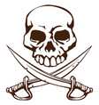 pirate skull and crossed swords symbol vector image vector image
