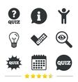 Quiz icons Speech bubble with check mark symbol vector image vector image