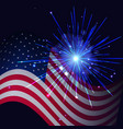 radiant blue fireworks and united states flag vector image