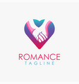 romantic hold hands in love logo icon template vector image