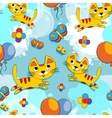 seamless pattern with cute kittens vector image vector image