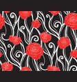 seamless texture with roses and vines on a dark vector image vector image