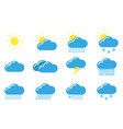 set icons cloud weather on white background vector image