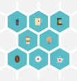 set of drink icons flat style symbols with tree vector image