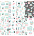 set seamless patterns with cactuses vector image vector image