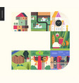 simple things - houses composition vector image vector image