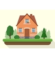 Small house with evening or night landscape vector image