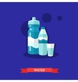 Sparkling water bottle glass and sports tumbler vector image vector image