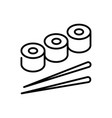 sushi rolls thin line icon isolated on white vector image