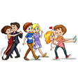 three couples doing different activities vector image vector image