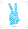 victory sign design with blue gear stock vector image