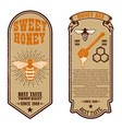 vintage natural honey flyer templates design vector image vector image