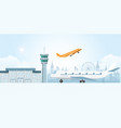 winter at airport with snowfall vector image