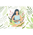 woman meditation in nature green background vector image vector image