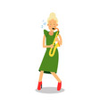 young woman in green dress playing sax cartoon vector image vector image