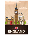 travel poster to england flat vector image