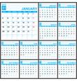2015 Full Calendar Blue template vector image vector image
