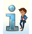A businessman thinking beside the number one vector image