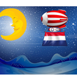 A floating balloon near the moon with the flag of vector image vector image